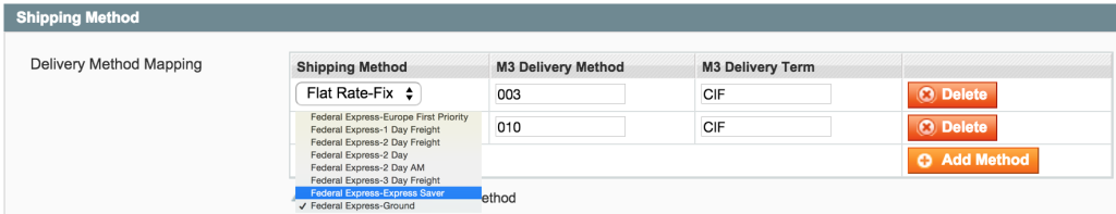 Shipping methods to M3